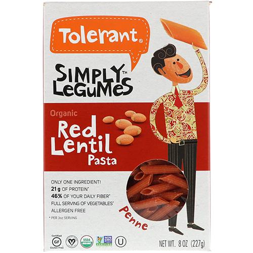 TOLERANT - SIMPLY LEGUMES ORGANIC RED LENTIL PASTA - (Penne) - 8oz