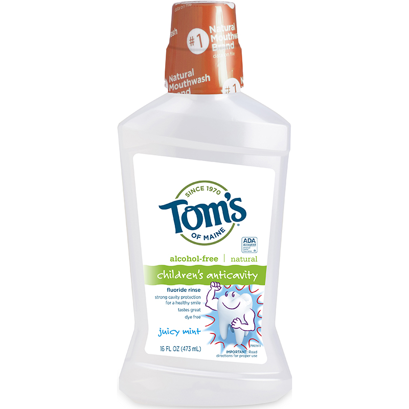 TOM'S - CHILDREN'S ANTICAVITY FLUORIDE RINSE - GLUTEN FREE - (Juicy Mint) - 16oz