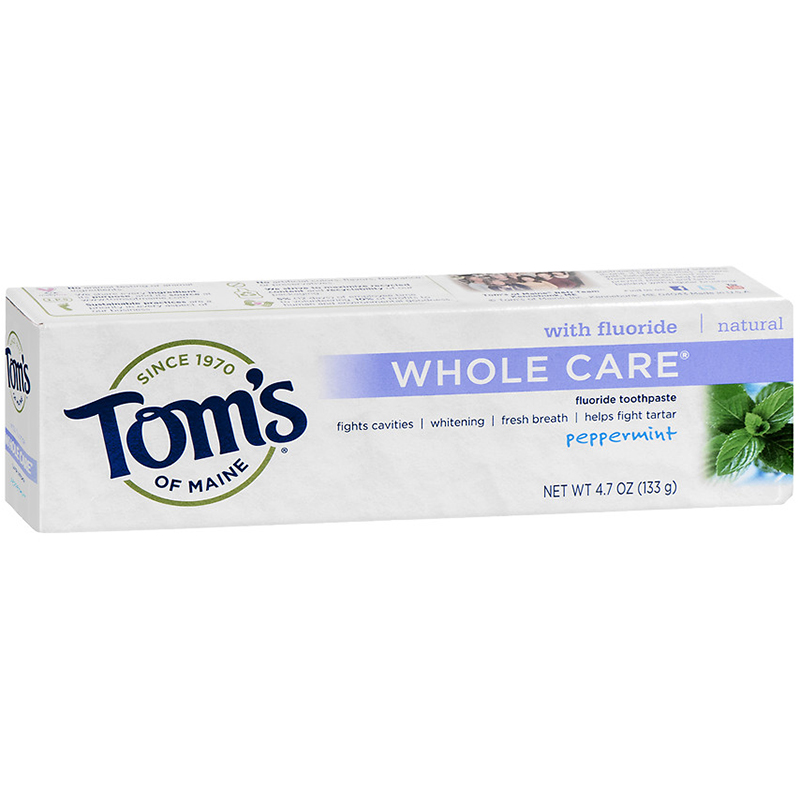 TOM'S - TOOTHPASTE /W FLUORIDE - NATURAL - (Whole Care) - 4oz