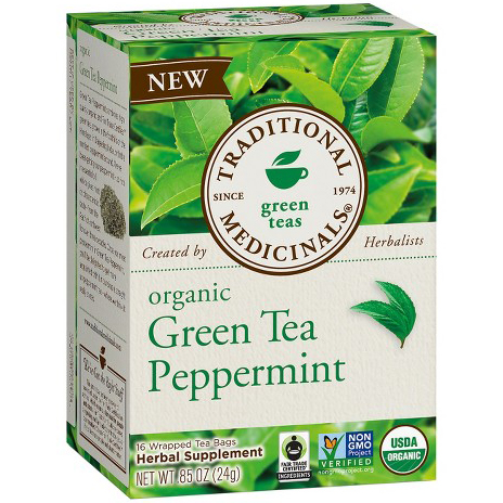 TRADITIONAL MEDICINALS - ORGANIC - NON GMO - (Green Tea Peppermint) - 16 Tea Bags