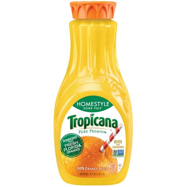 TROPICANA - 100% ORANGE JUICE - NON GMO - (Homestyle) - 59oz