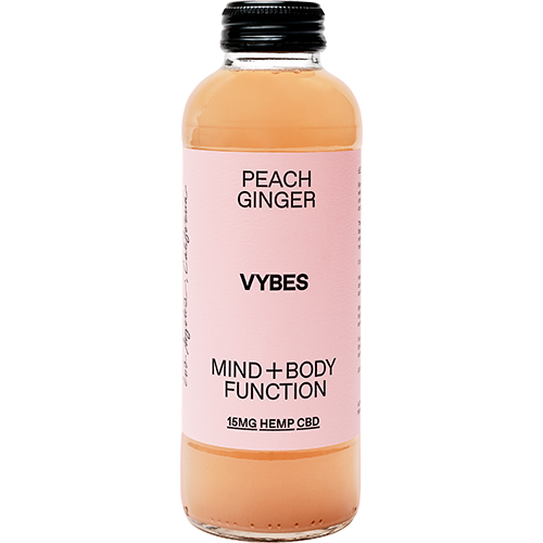 VYBES - MIND+BODY FUNCTION 15MG HEMP CBD - (Peach Ginger) - 14oz