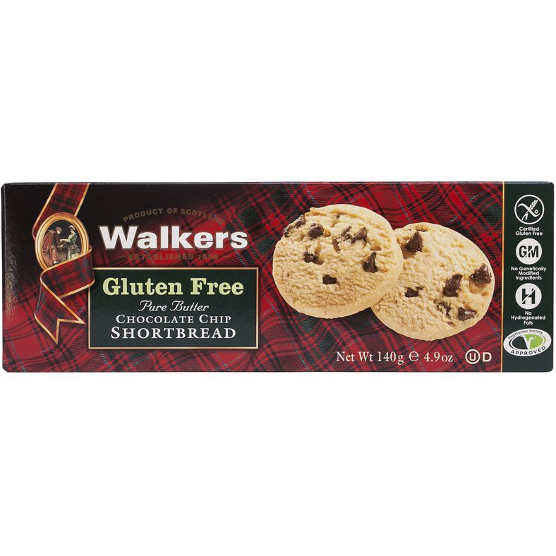 WALKERS - PURE BUTTER CHOCOLATE CHIP SHORTBREAD - GLUTEN FREE - 4.9oz