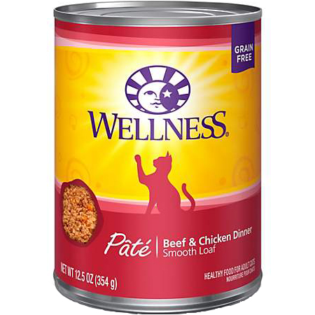 WELLNESS - HEALTHY FOOD FOR ADULT CATS - (Beef & Chicken Dinner) - 12.5oz