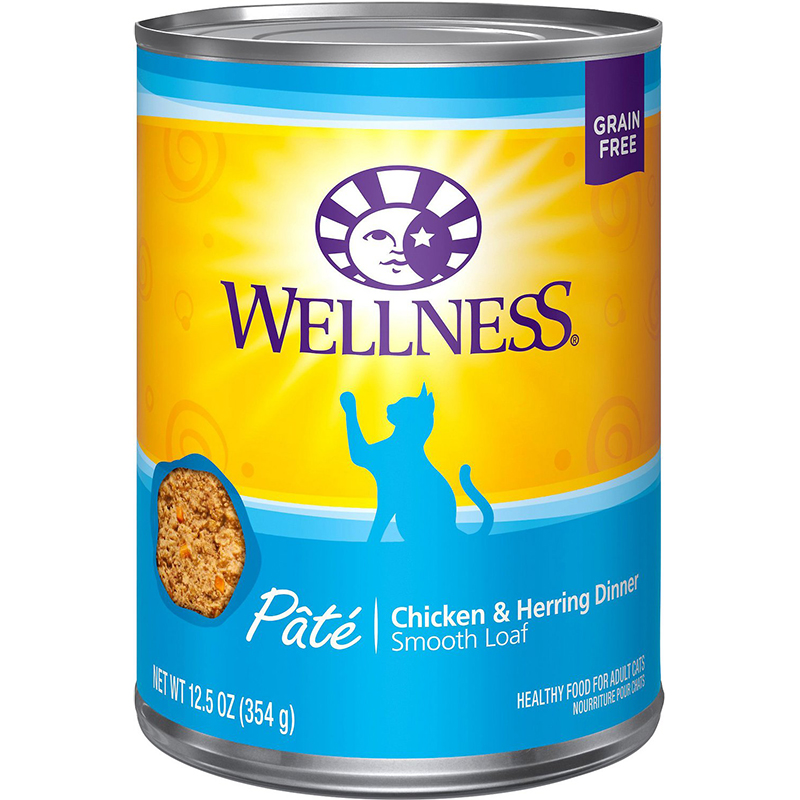 WELLNESS - HEALTHY FOOD FOR ADULT CATS - (Chicken & Herring Dinner) - 12.5oz