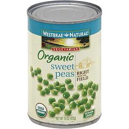 WESTBRAE NATURAL - ORGANIC SWEET PEAS - NON GMO - 15oz