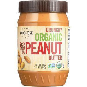 WOODSTOCK - SMOOTH ORGANIC EASY SPREAD PEANUT BUTTER (UNSALTED) - NON GMO - 18oz