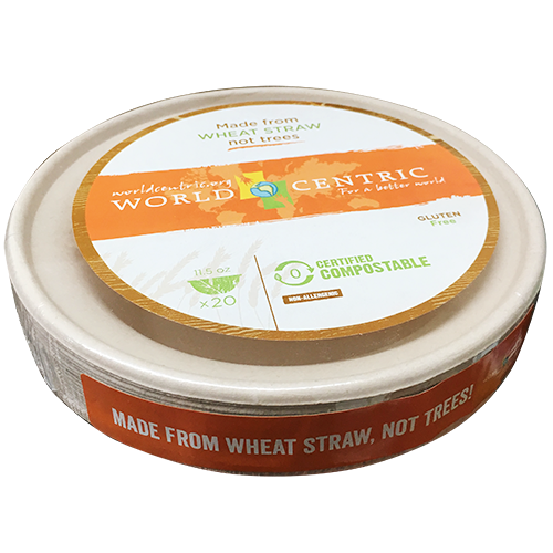 WORLD CENTRIC - 11.5oz WHEAT STRAW COMPOSTABLE BOWL - 20counts