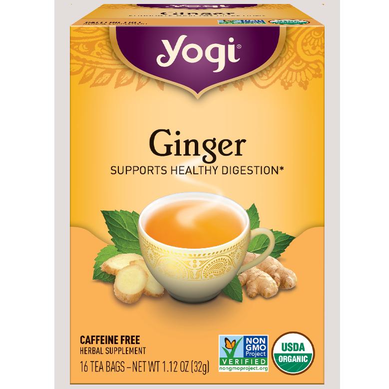 YOGI - HERBAL TEA CAFFEINE FREE - NON GMO - (Ginger) - 16 Tea Bags