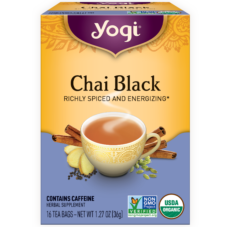 YOGI - HERBAL TEA CAFFEINE FREE - NON GMO - (Chai Black) - 16 Tea Bags