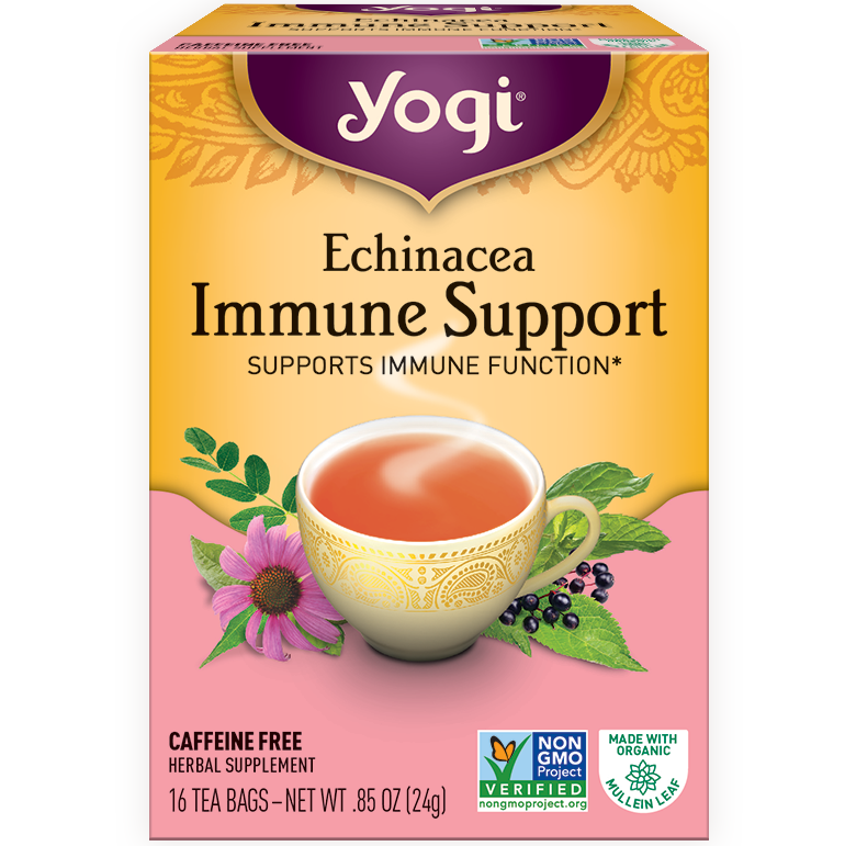 YOGI - HERBAL TEA CAFFEINE FREE - NON GMO - VEGAN - (Echinacea | Immune Support) - 16 Tea Bags
