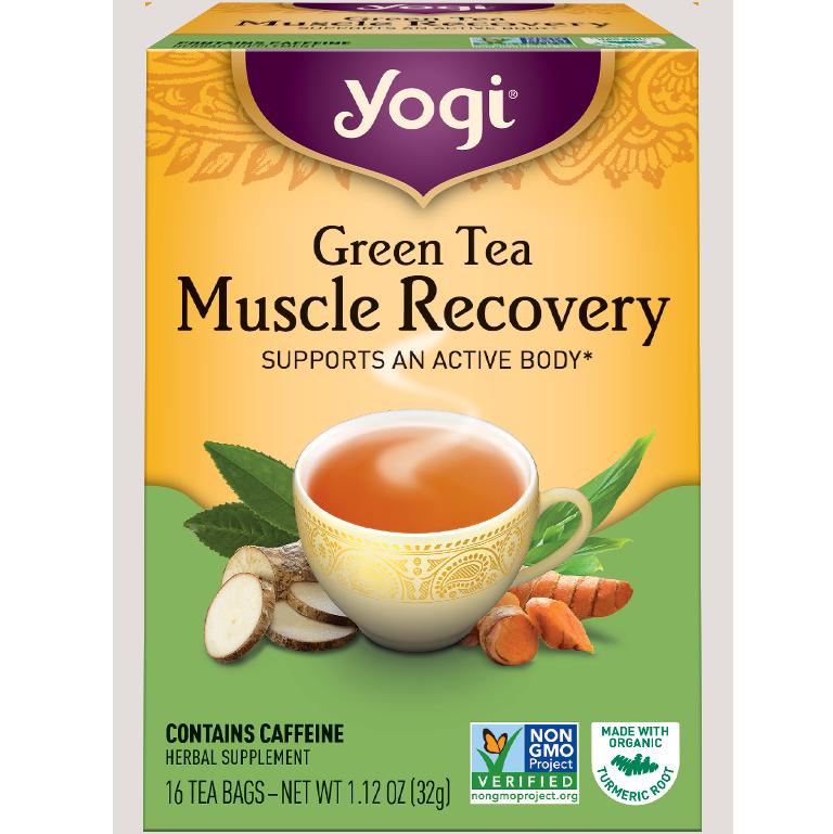 YOGI - HERBAL TEA CAFFEINE FREE - NON GMO - VEGAN - (Green Tea | Muscle Recovery) - 16 Tea Bags