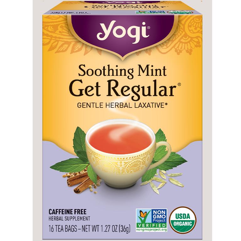 YOGI - HERBAL TEA CAFFEINE FREE - NON GMO - VEGAN - (Soothing Mint Get Regular) - 16 Tea Bags