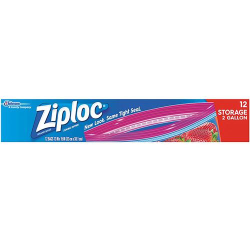 ZIPLOC - DOUBLE ZIPPER 12 STORAGE 2 GALLON - 12 BAGS