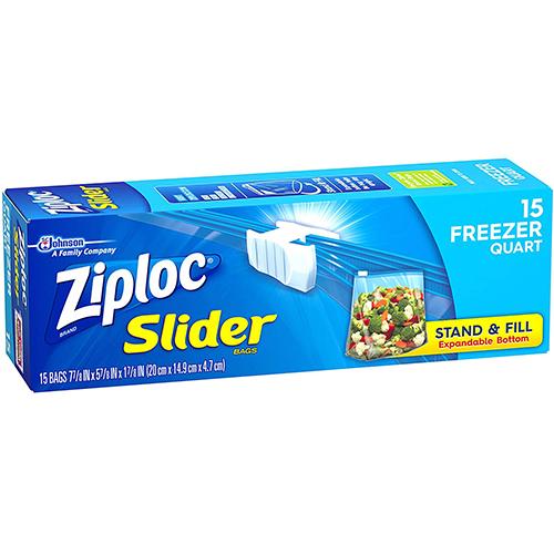 ZIPLOC - SLIDER 12 FREEZER QUART - 15 BAGS